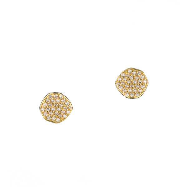 Pave disc stud earring