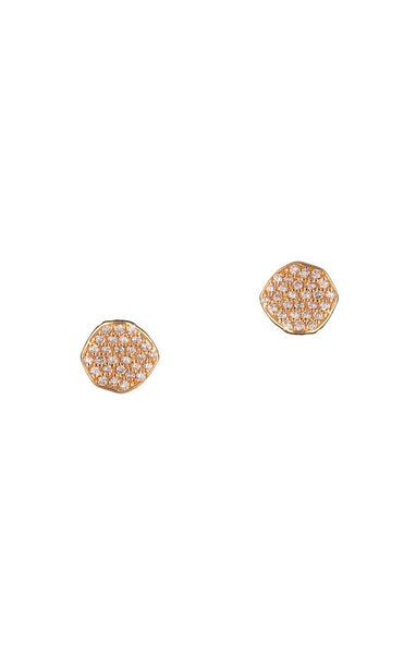 Pave disc stud earrings Rose