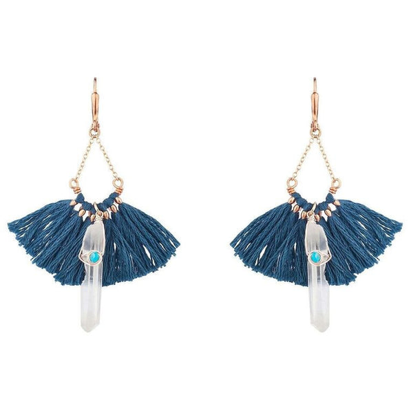 Aqua tassel and crystal earring - lever back