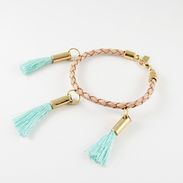 "The Delia 6"" leather cord bracelet with Handmade Machine Embroidery tassels in gold plated casings"