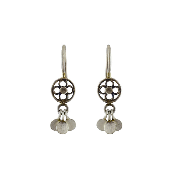 Sterling silver tiny filagree and disc dangles charm earring