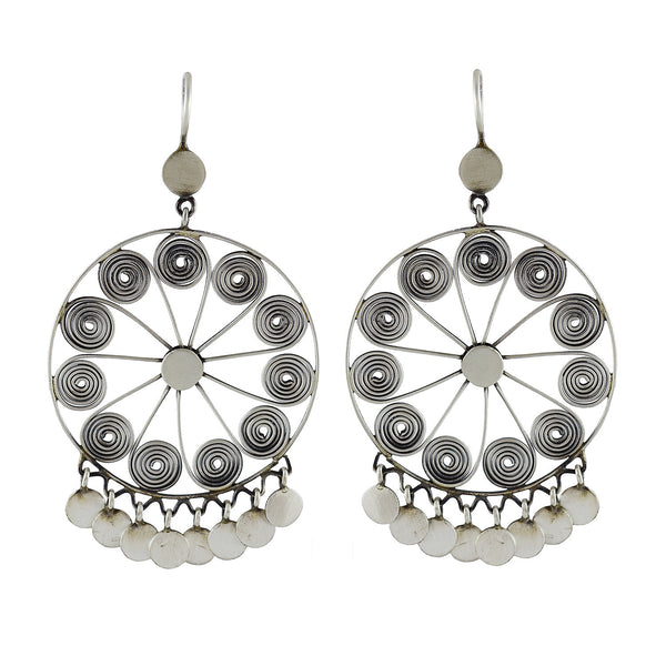 Sterling silver large filagree wheels with disc dangles earrings