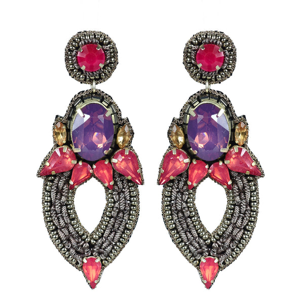 Jeweled drop statement earring Handmade in Mumbai