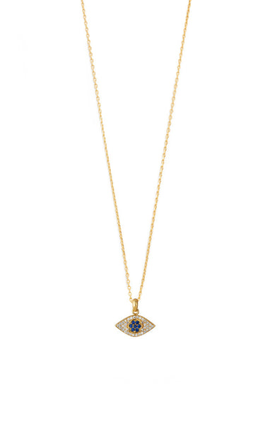 CZ Evil eye necklace on 24k vermeil gold chain