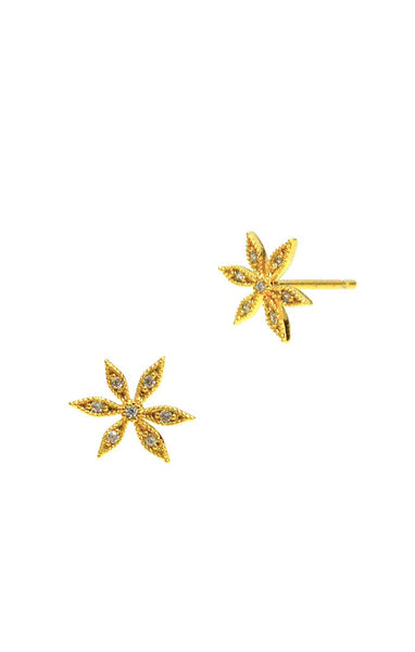 Flower with crystal stud earrings