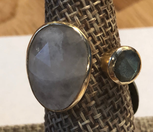 Smoky quartz open statement ring