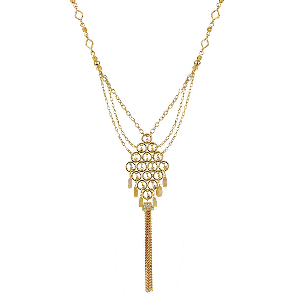 "Indira 27"" tassel pendant with glass beads - 3mm gold plated brass"