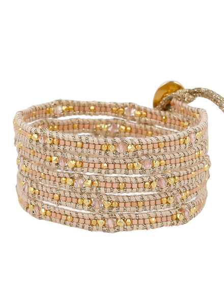 Peach Mix Mokuba Wrap Bracelet