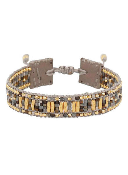 18K gold plated sterling silver adjustable bracelet with seed beads in Grey and gold. Handmade in Vietnam