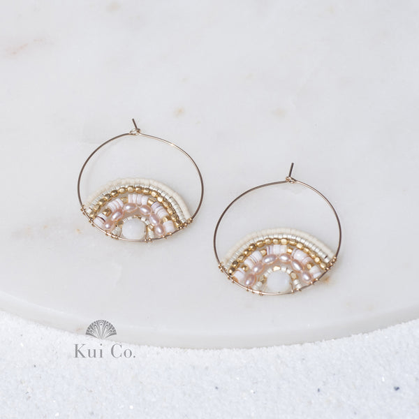 Amelia 14k gold filled pink shell and Delica seed bead earrings Handcrafted in Japan