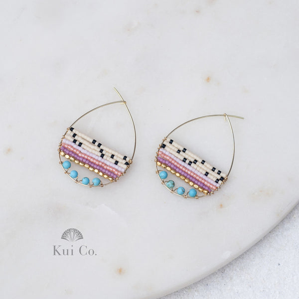Coco turquoise and Delica seed beads teardrop hoops Handcrafted in Japan