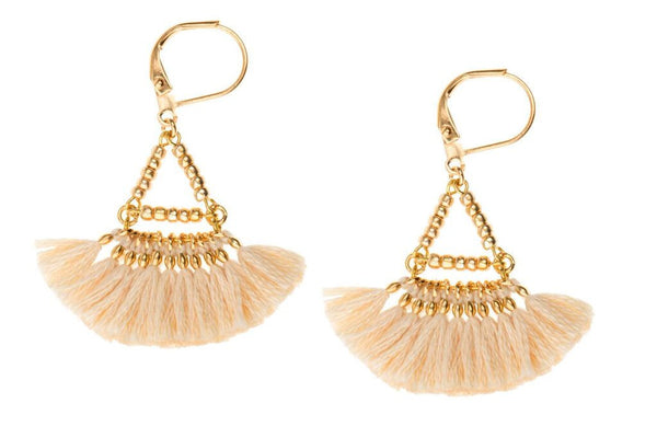 Tassel fan earring - ivory cotton tassel on plated gold lever back