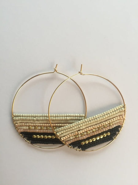 Michelle 14k silver, pink and black Delica seed bead oversize hoop earrings Handcrafted in Japan
