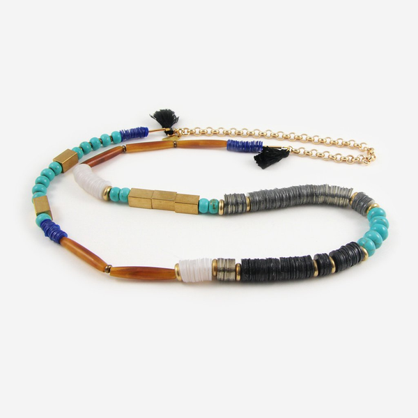 "The Giver 30"" beaded necklace with handmade tassels"