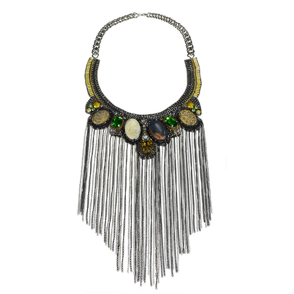 Statement stone and chain fringe bib necklace Handmade in Mumbai