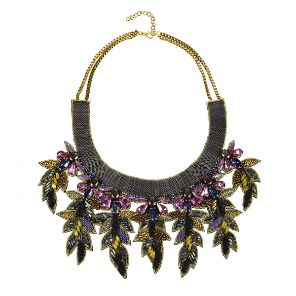 Lavender jewel and featheredbib necklace Handmade in Mubai