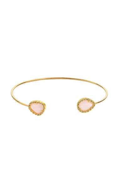 Open bracelet with tear shaped ice pink glass stone and CZ