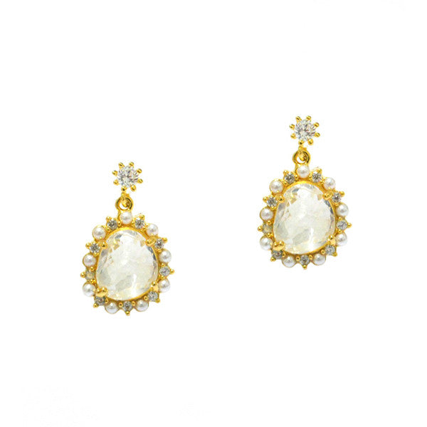 Gold drop earring with clear glass, pearl and cz trim