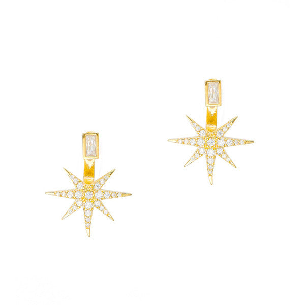 Starburst jacket with baguette shaped glass stud earring