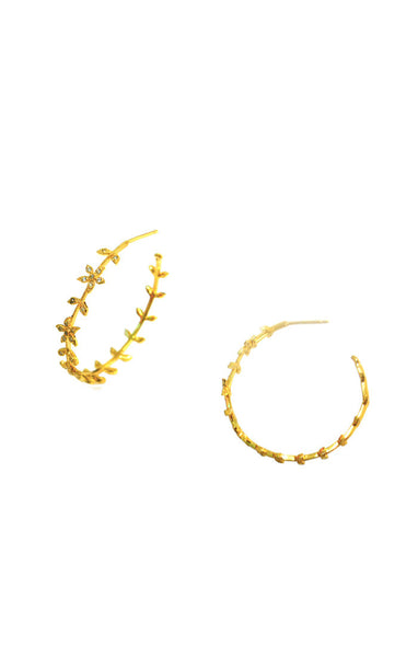 Gold and crystal Flower leaf hoop earrings
