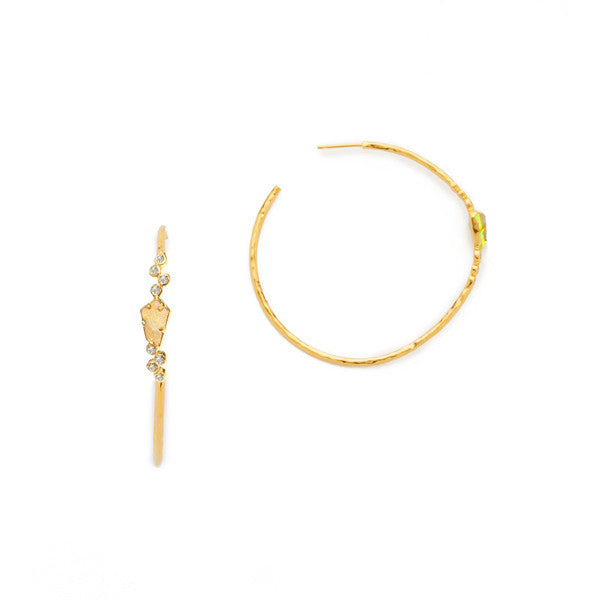 Hoop earring with Cat's Eye and CZ