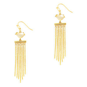 Free form stone with fringe earring