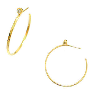Hand hammered 12k Gold hoop earrings with moon glass