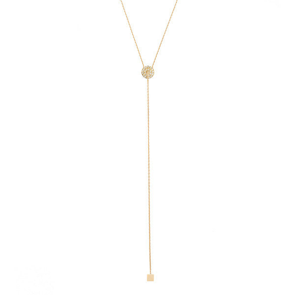 Pave disc lariat necklace