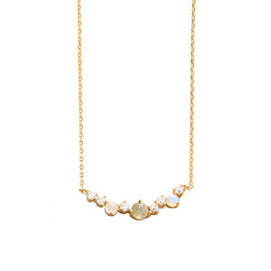 Multi stone bar cluster necklace