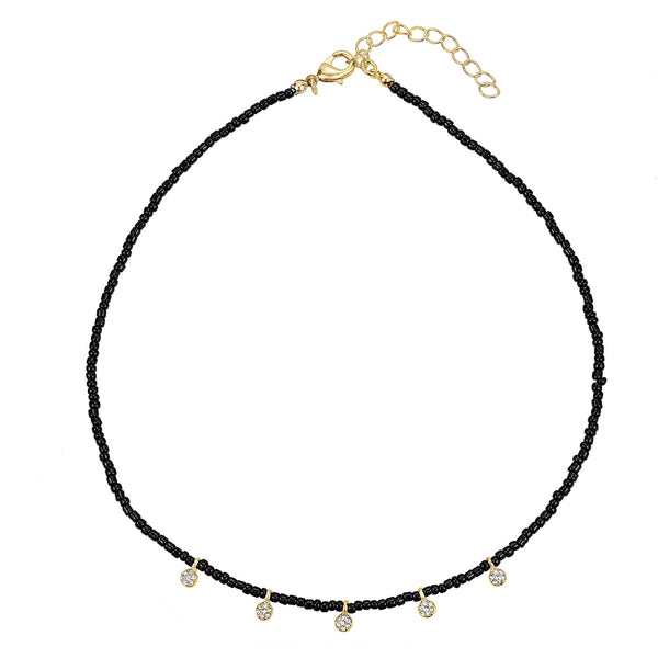 "Raine black bead choker necklace with 5 glass stone charms 14"" with 2"" extender"