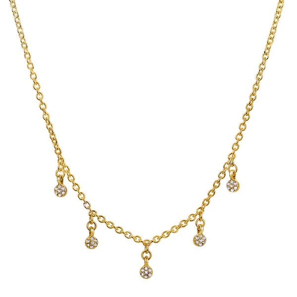 "Raine gold chain choker necklace with 5 glass stone charms 14"" with 2"" extender"