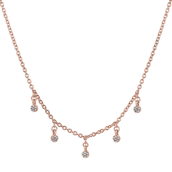 "Raine rose gold chain choker necklace with 5 glass stone charms 14"" with 2"" extender"