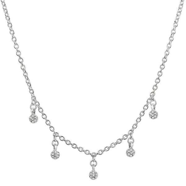 "Raine rhodium silver chain choker necklace with 5 glass stone charms 14"" with 2"" extender"