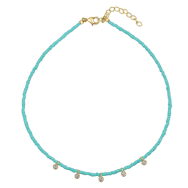 "Raine turquoise bead choker 14-16"" necklace"