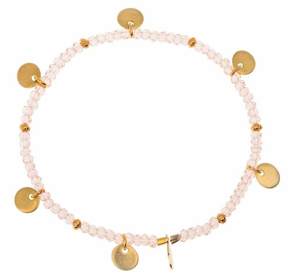 Bead disk stretch bracelet