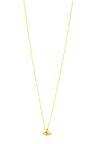 Gold vermeil white enamel chain necklace with evil eye charm