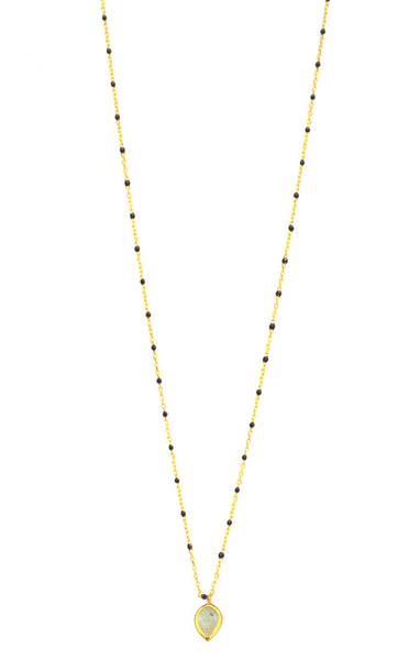 Gold vermeil black enamel chain necklace with labradorite charm