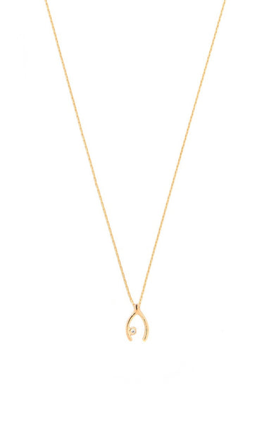 Simple chain necklace with gold wishbone charm and CZ