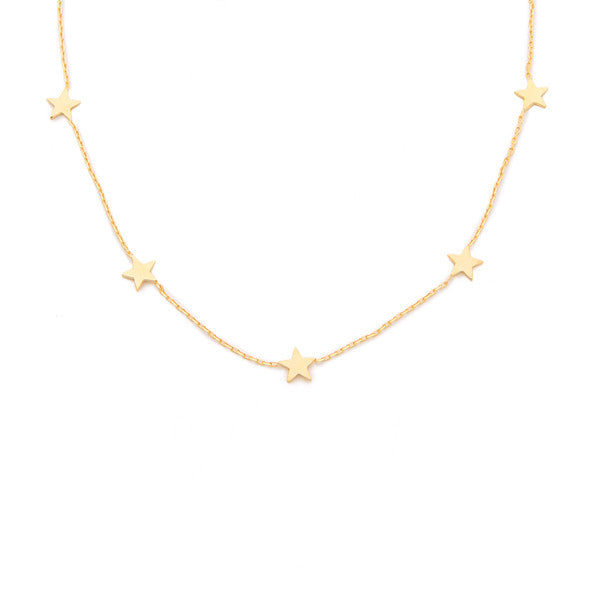 Mini star charm station necklace