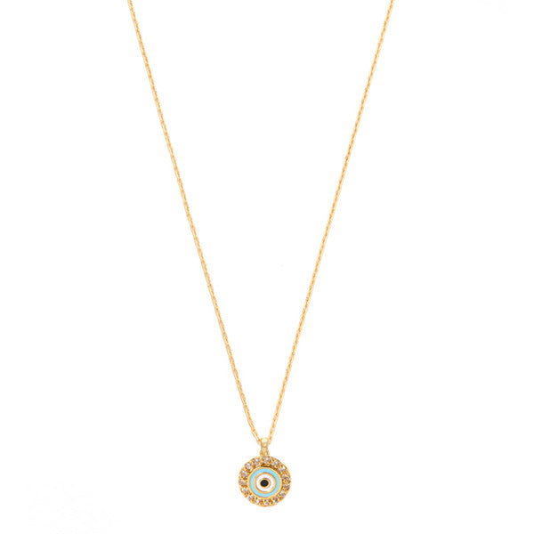 "Mini evil eye turquoise enamel and cz disc necklace 16"" length"