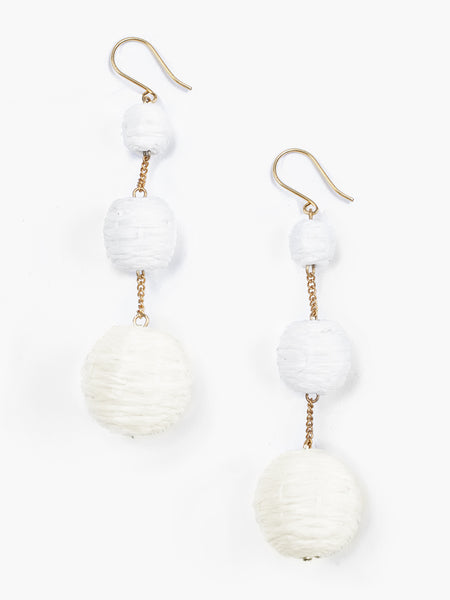 3 tier woven Raffia pom pom earrings. Handmade in India