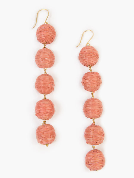 5 tier woven Raffia Pom Pom Earrings in coral. Handmade in India