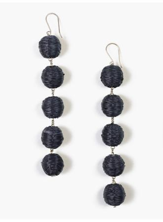 5 Tier woven Raffia Pom Pom earrings in blue.  Handmade in India