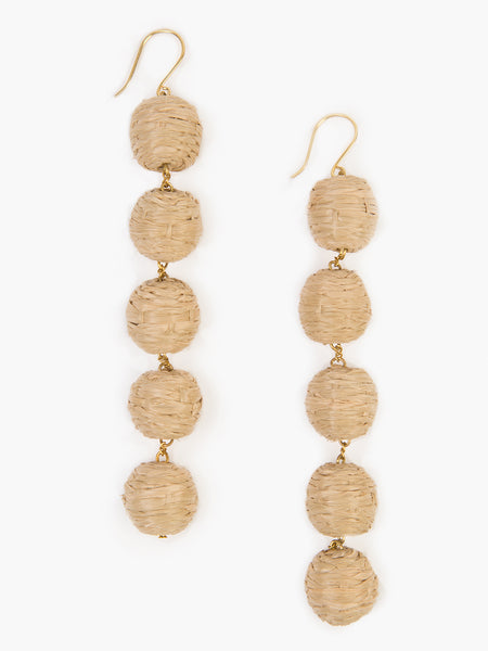 5 tier woven Raffia Pom Pom Earrings in Natural. Handmade in India