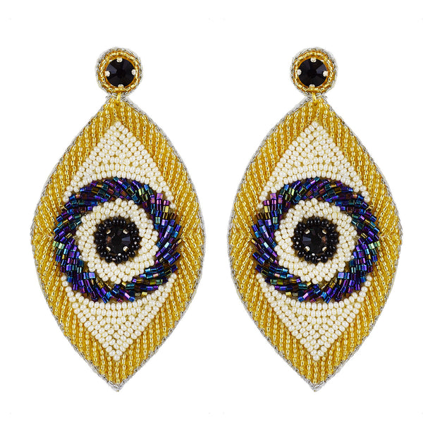 Multi beaded evil eye earrings Handmade in Mumbai