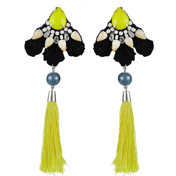 Black and yellow multi bead long tassle earrings Handmade in Mumbai