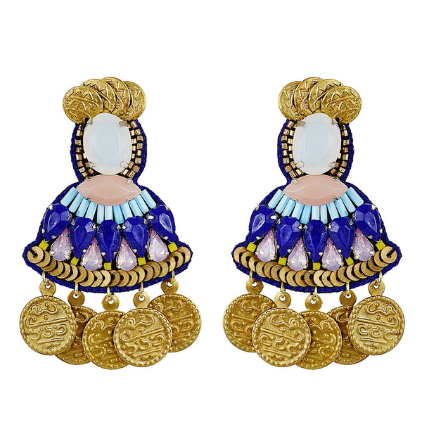 Blue mixed bead earrings with coins Handmade in Mumbai