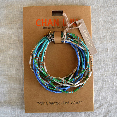 Chan Luu EFI collection 10 Strand Patterned Seed Bead Stretch Bracelet