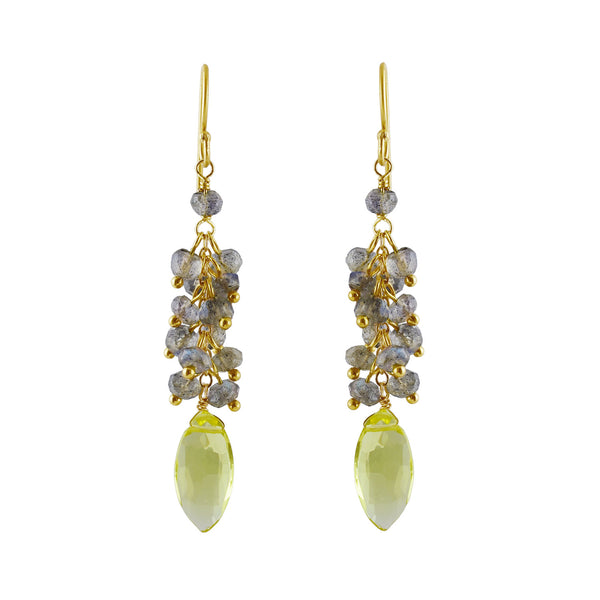 Semi-precious Labradorite & Lemon Citrine Drop Earring