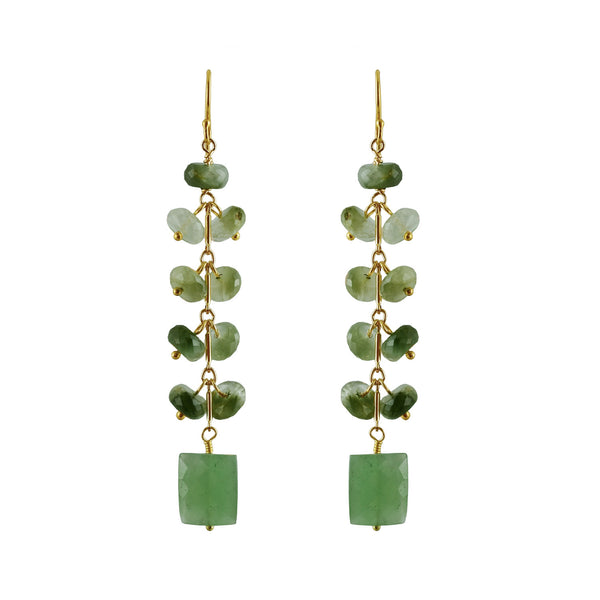Semi-precious Catseye & Green Adventurine Drop Earring